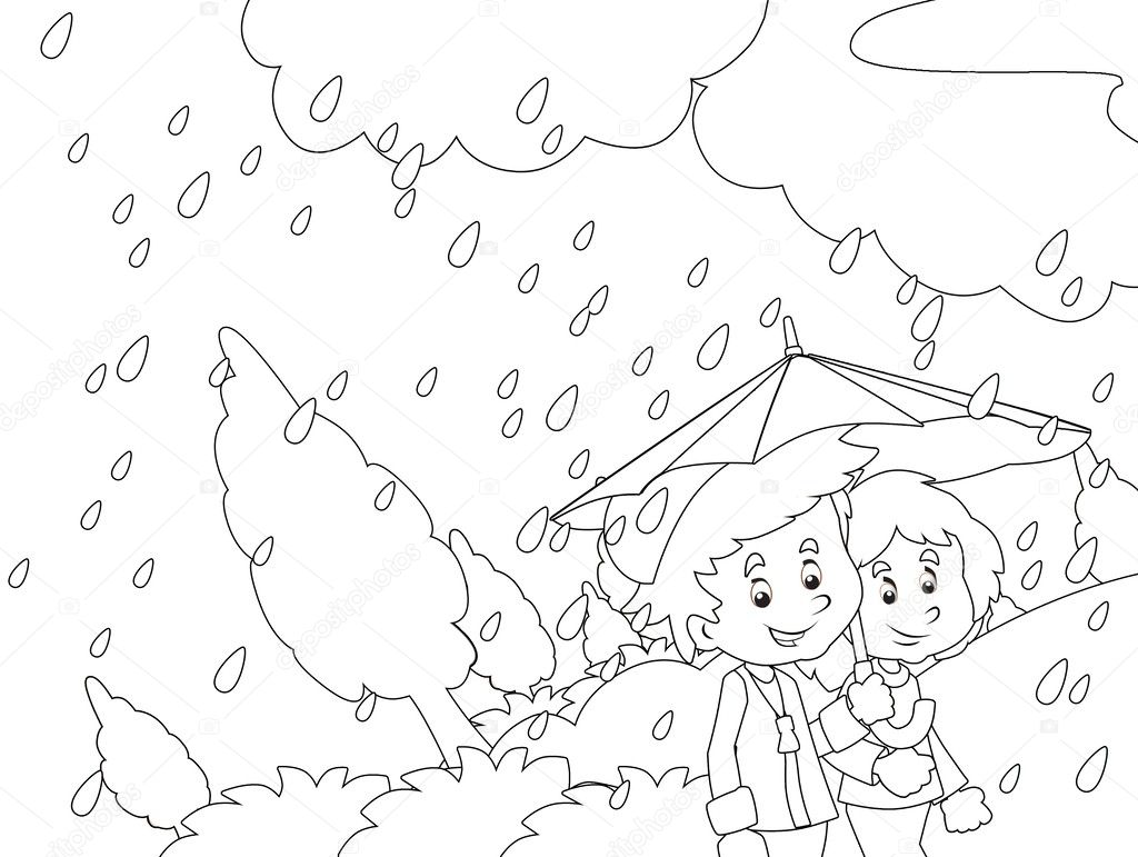 the rainy day in autumn coloring page u2014 stock photo