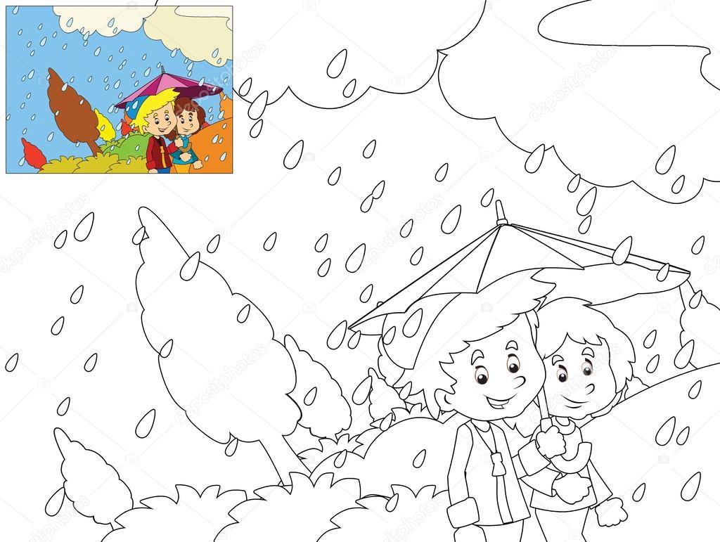 el día lluvioso en otoño para colorear página — Fotos de Stock ...