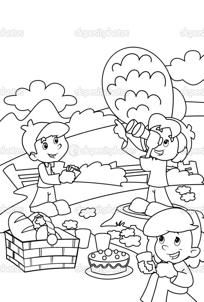 Imágenes: parque para colorear | niños en el parque para colorear ...
