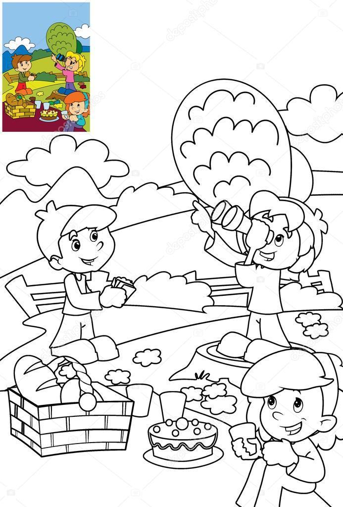 çocuk Parkı Boyama Sayfası Stok Foto Illustratorhft 24701959