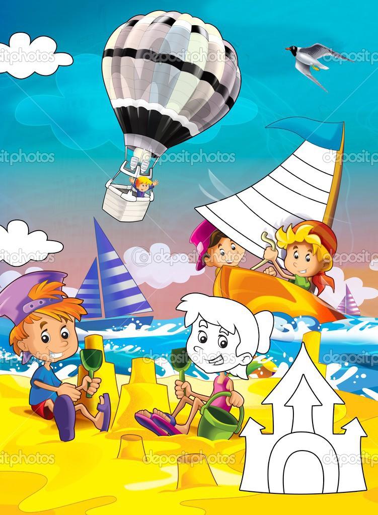 depositphotos stock photo kids at the beach coloring
