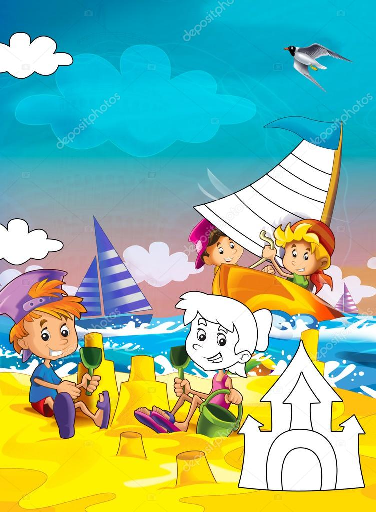 depositphotos stock photo kids at the beach coloring