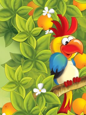 The funny pair parrot sitting and chatting like friends - happy illustration for children
