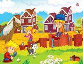 děti poblíž domů ilustrace pro děti