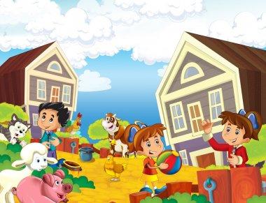 Children near home illustration for kids
