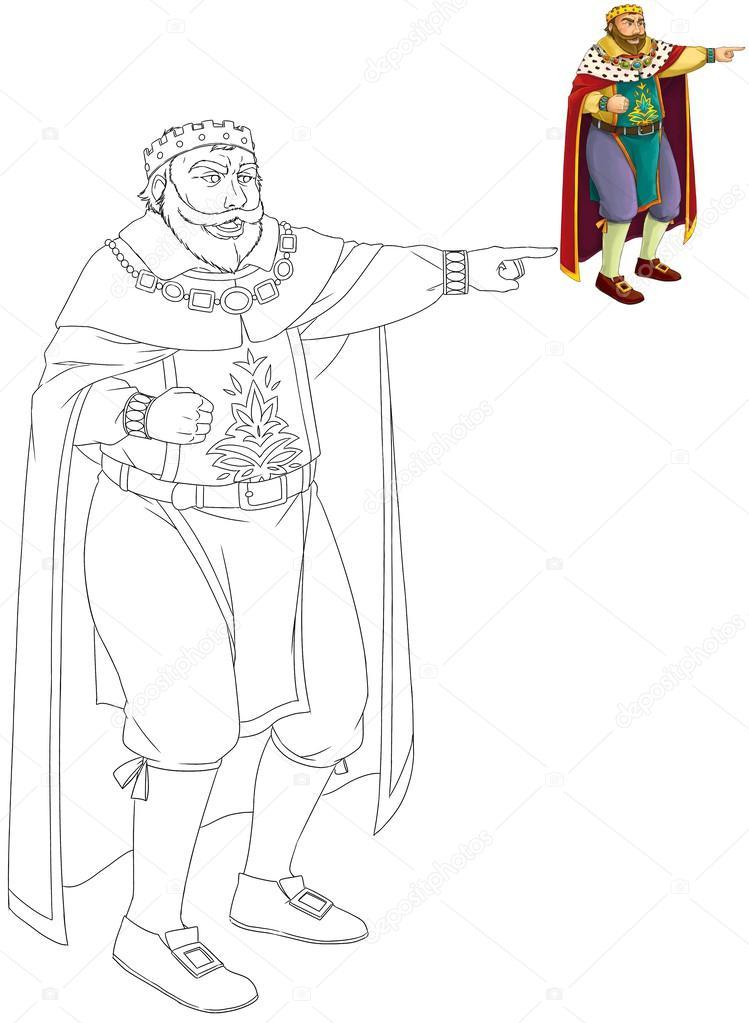 önizleme Karikatür Kral Boyama Kitabı Stok Foto