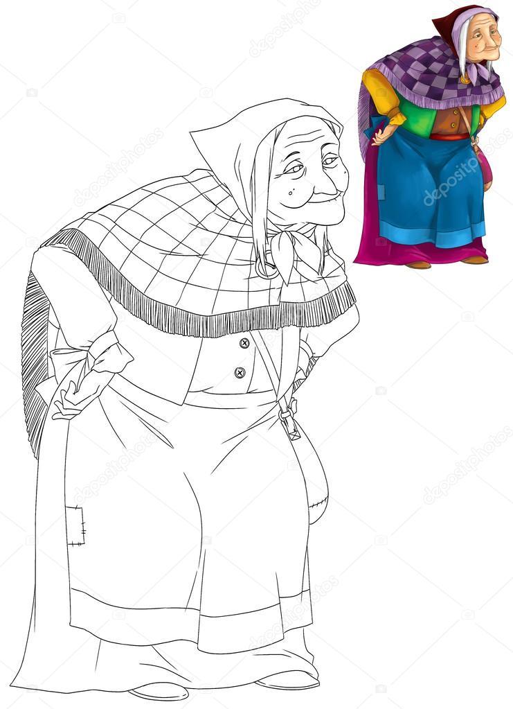 önizleme Karikatür Yaşlı Kadın Ile Boyama Kitabı Stok Foto