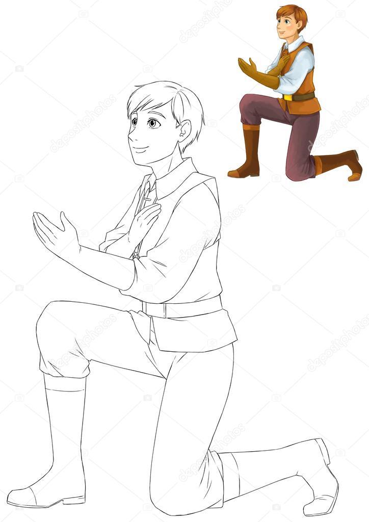 el libro de colorear con chico vista previa de rodillas pidiendo el ...