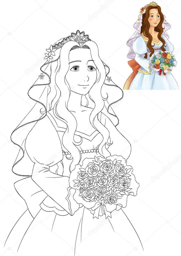 el libro de colorear con vista previa - novia de dibujos animados ...