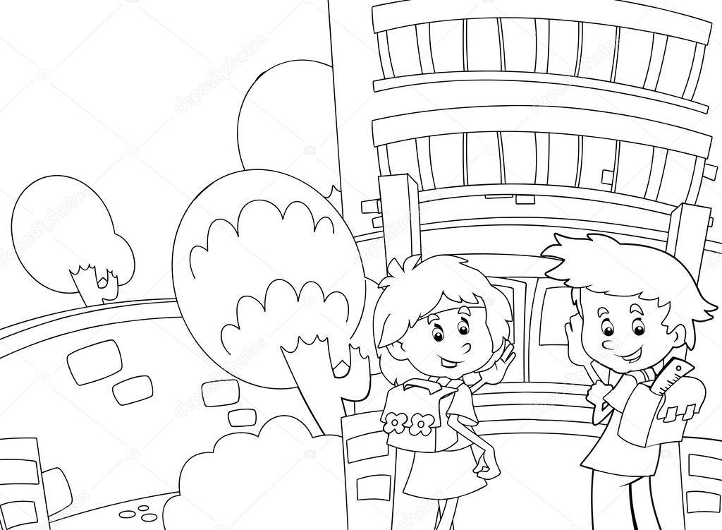 el libro para colorear - tiempo a la escuela — Fotos de Stock ...