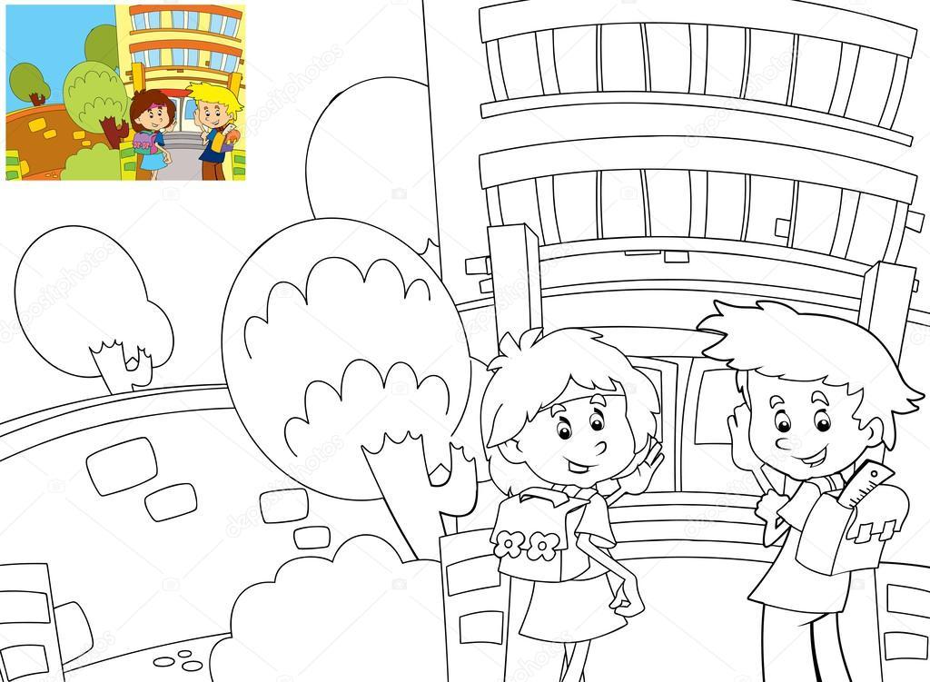 el libro de colorear con vista previa - tiempo a la escuela — Foto ...