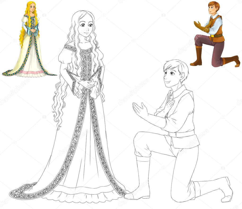 el libro de colorear con vista previa - princesa de dibujos animados ...