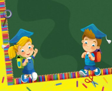 Time to school - space for text - happy and bright illustration for the children