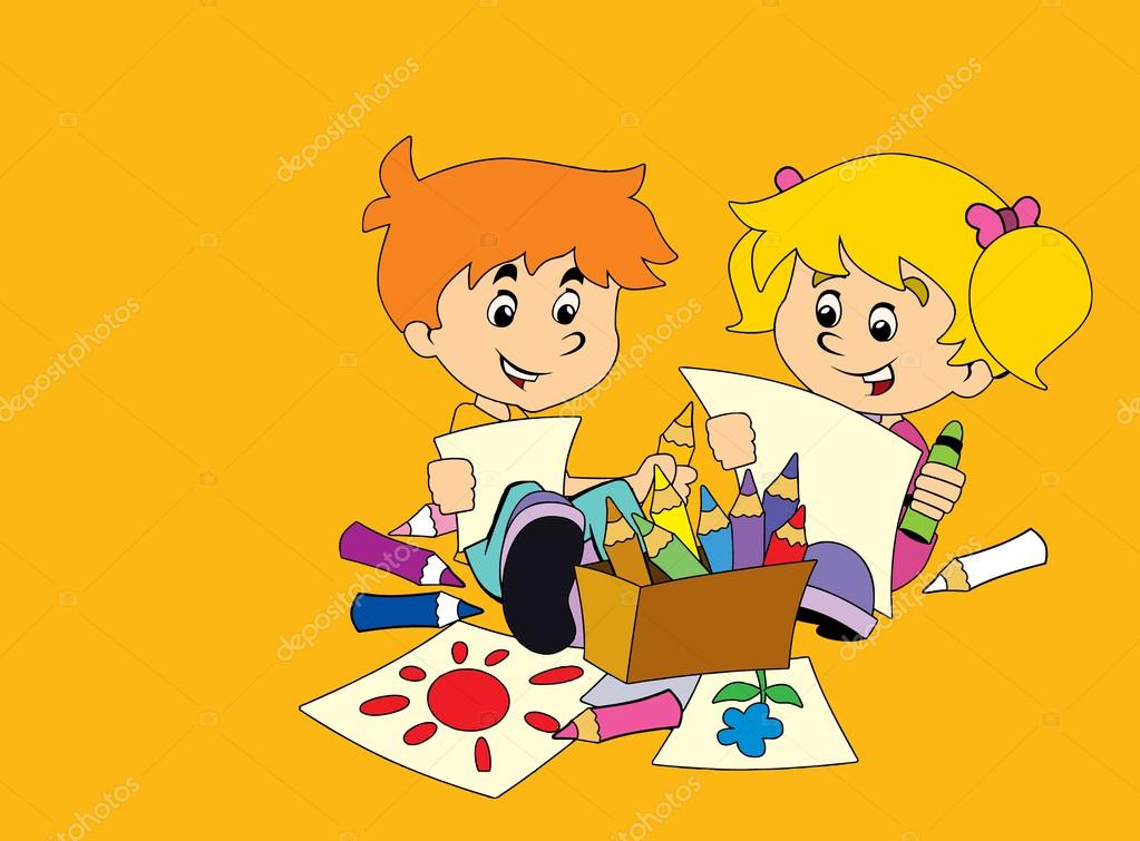 die Klasse-Lektionen der Malerei - spielen - lernen - Illustration ...