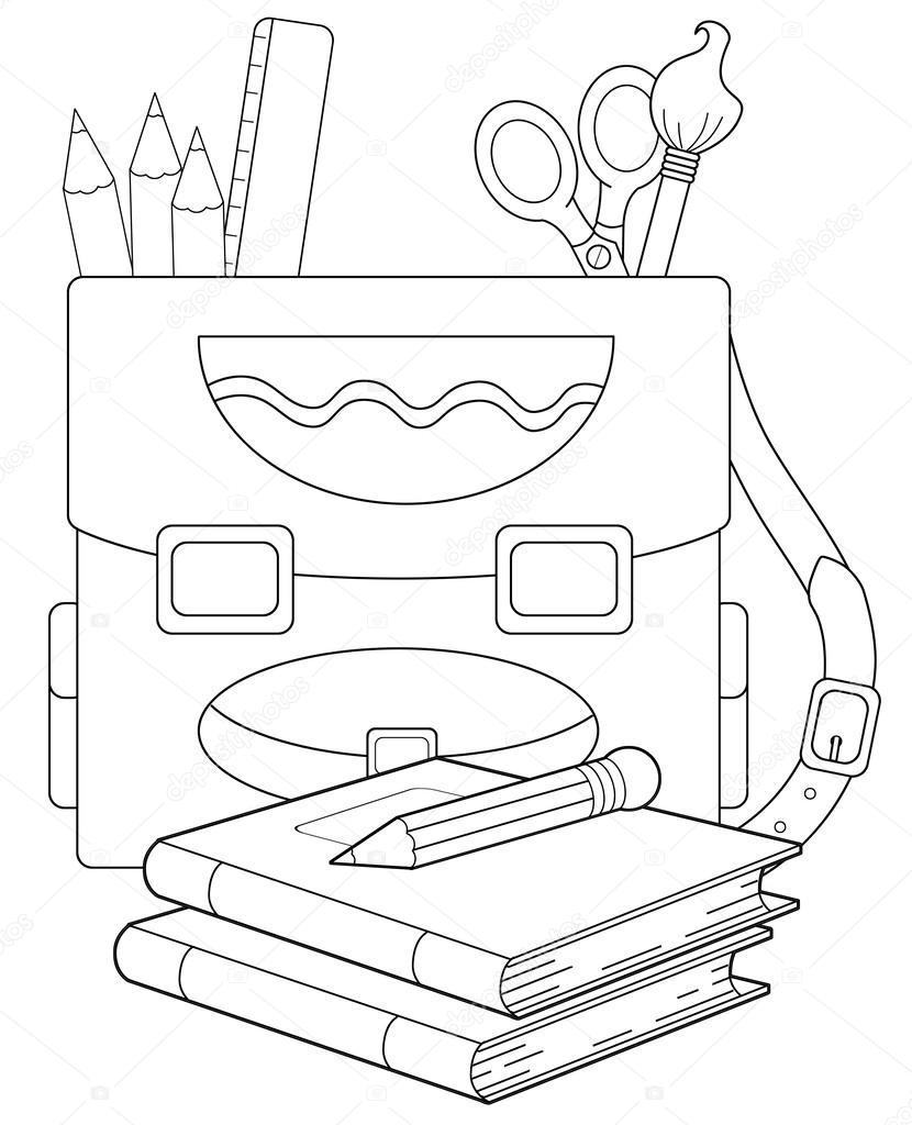 Boyama Sayfa Okul Sırt çantası çizim çocuklar Için Stok Foto