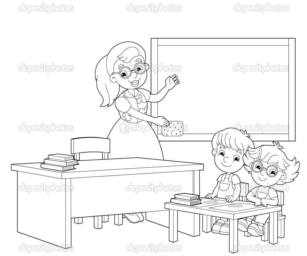 the coloring page the classroom illustration for the children stock photo 25356781
