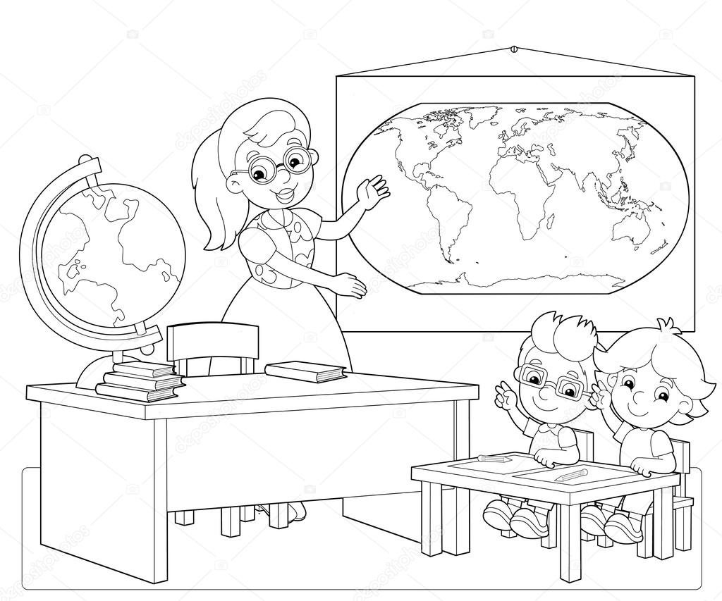 the coloring page the classroom illustration for the children stock photo 25356833