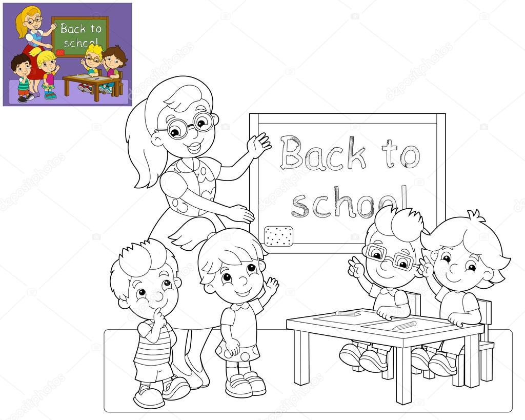 The coloring page - the classroom - illustration for the children ...