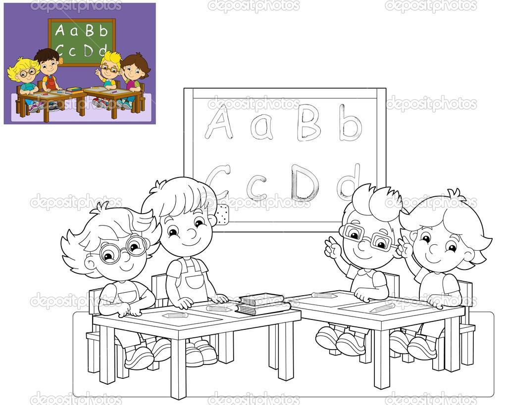 Classroom Design Page ~ Kolorowanki strona klasie ilustracja dla dzieci