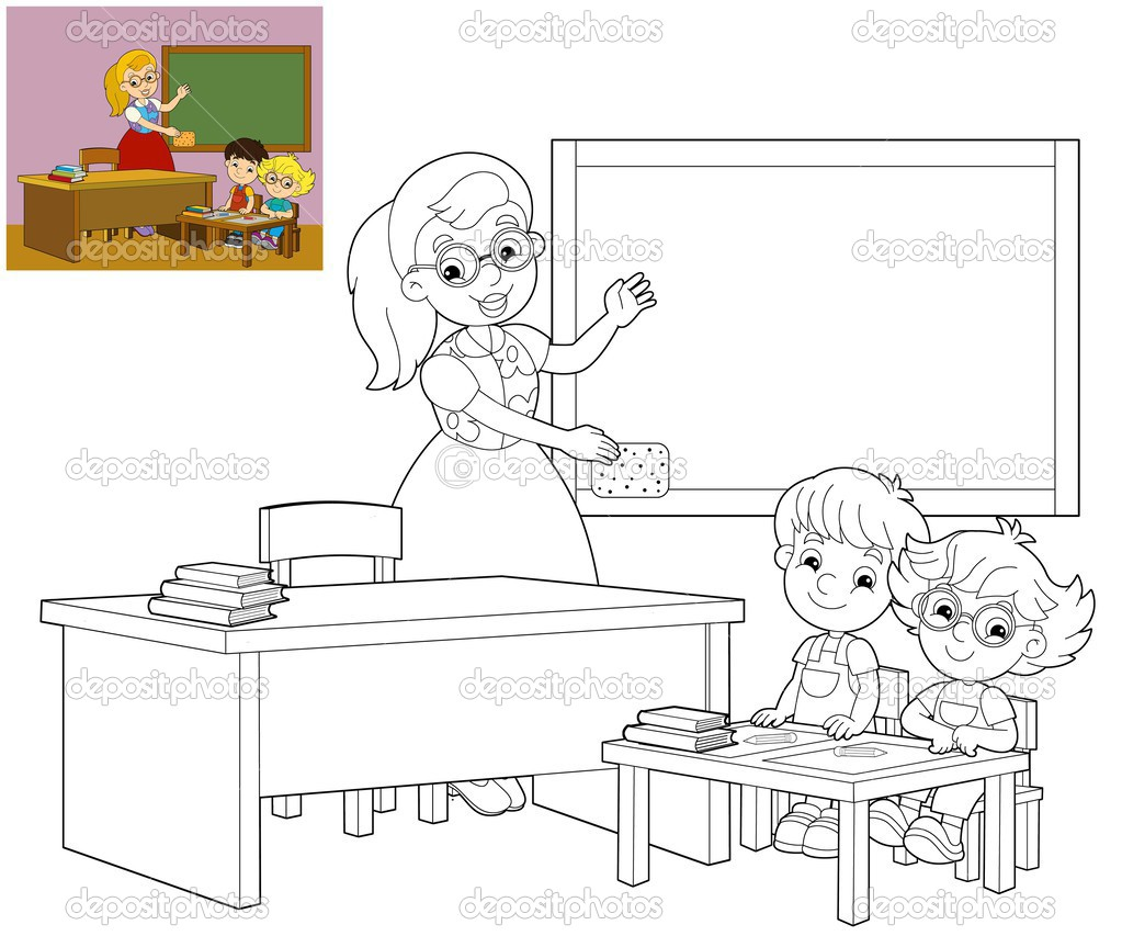 Uncategorized Classroom Coloring Page the coloring page classroom illustration for children stock photo 25409395