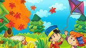 kreslené děti hrají na podzim