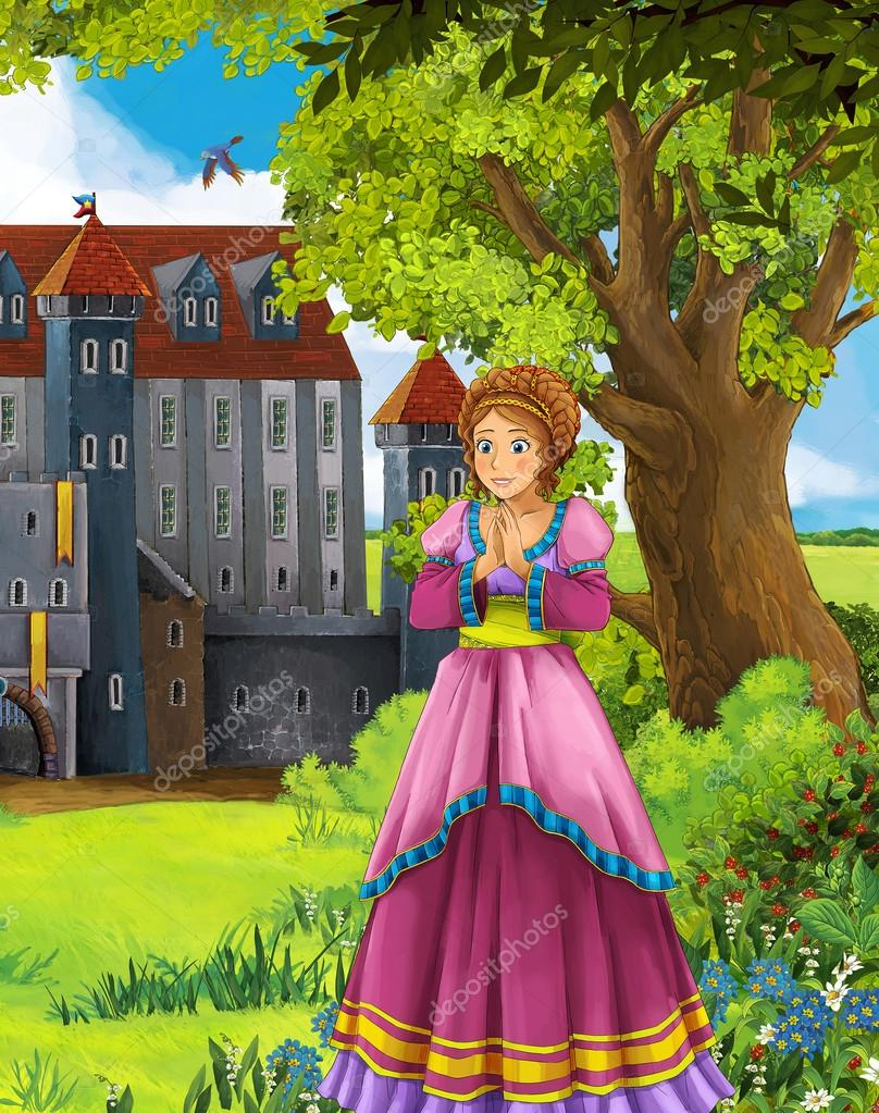 The princesses - castles - knights and fairies - Beautiful Manga Girl - illustration for the children