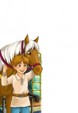 A boy in a stall with a horse