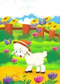 Cartoon illustration with sheep on the farm