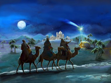 illustration of the holy family and three kings - illustration for the children