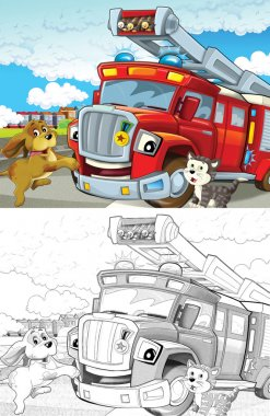 Fire truck. Artistic coloring page out of cartoon style