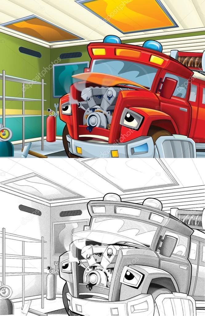 camión de bomberos. Página para colorear artístico de estilo de ...
