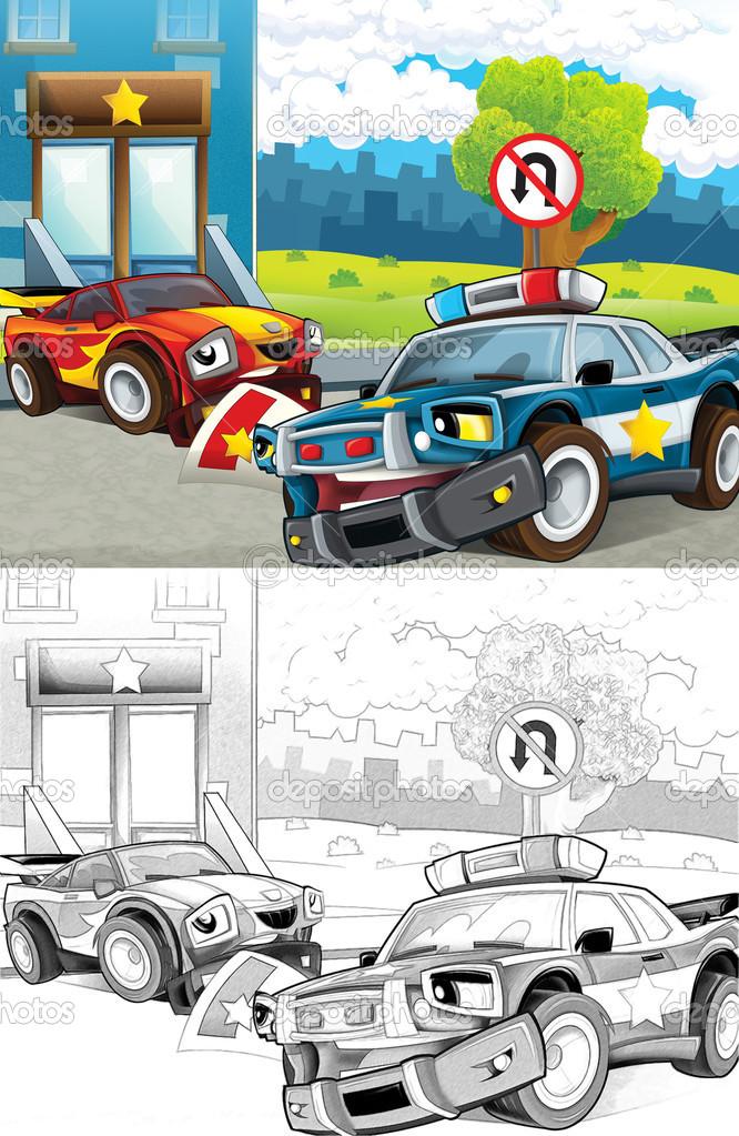 Polis Arabası Karikatür Tarzı Dışında Sanatsal Boyama Sayfası