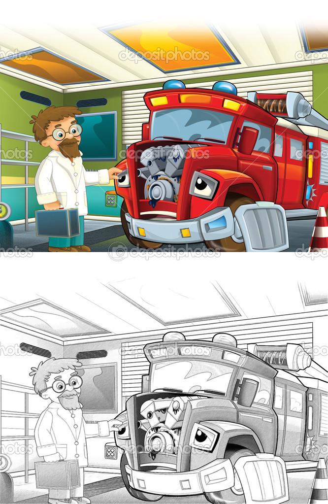 Kleurplaten Ruimtestation.Brand Vrachtwagen Artistieke Kleurplaat Uit Cartoon Stijl