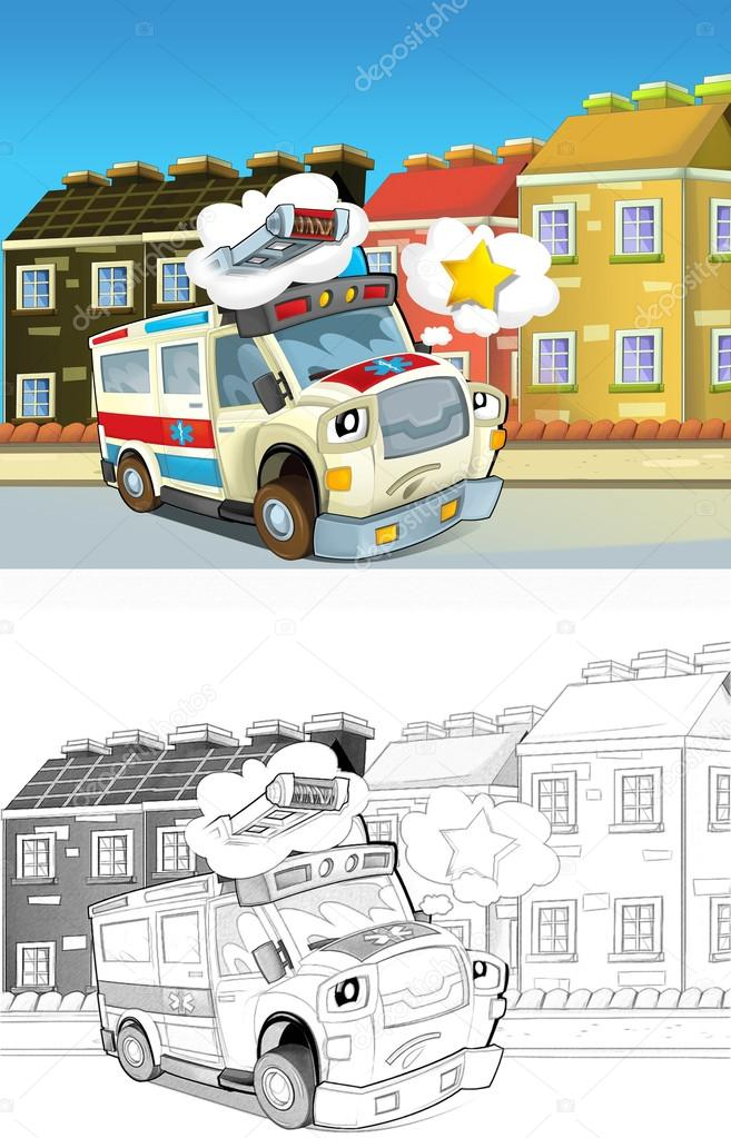 ambulância. coloração artística fora de estilo cartoon — Stock Photo ...
