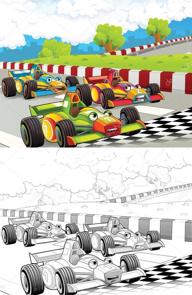 coches de carreras. Página para colorear artístico de estilo de ...