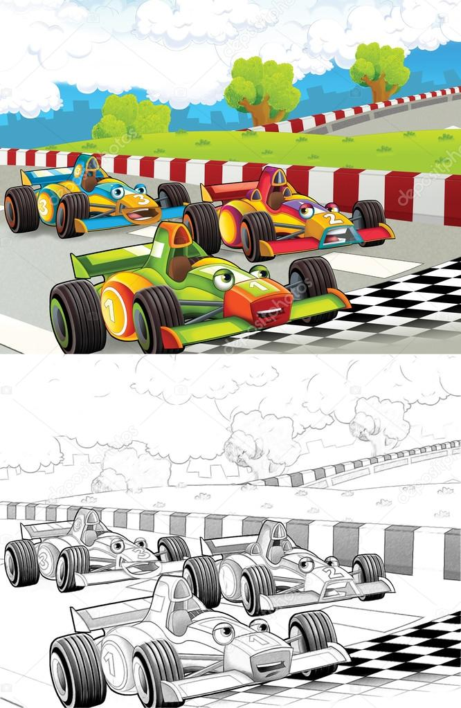Raceauto S Artistieke Kleurplaat Uit Cartoon Stijl Stockfoto