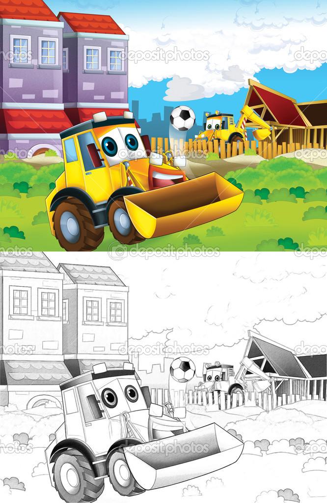 tractor. Página para colorear artístico de estilo de dibujos ...