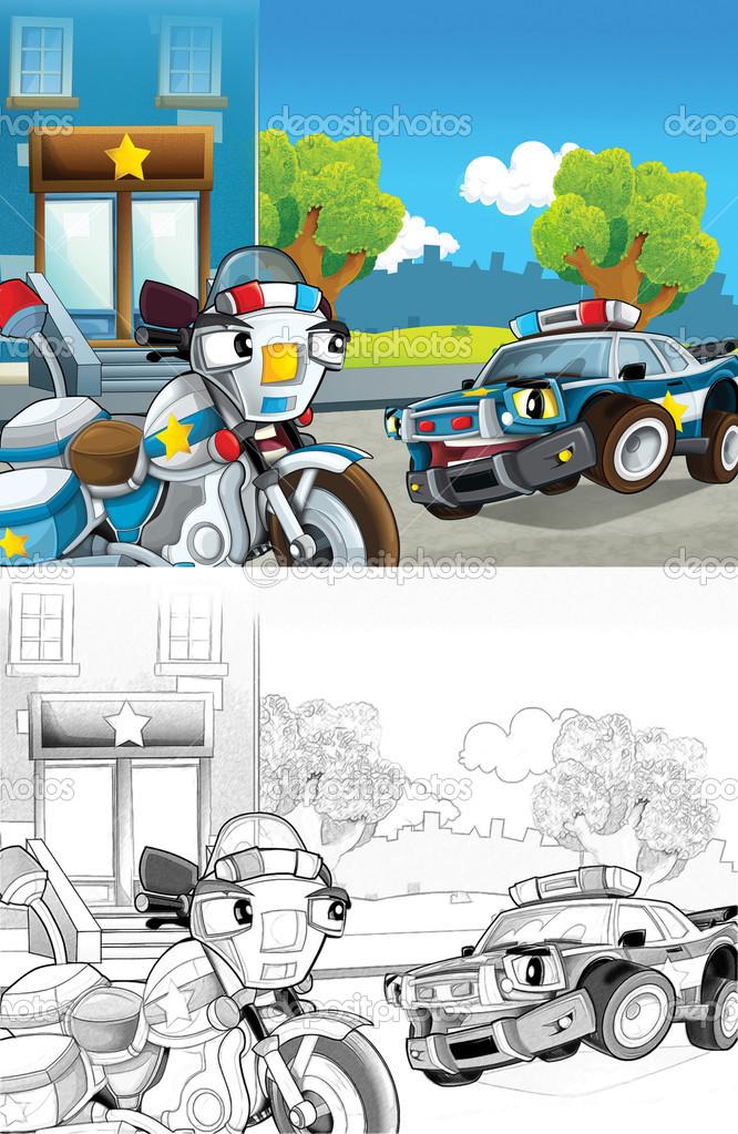 coche de policía. Página para colorear artístico de estilo de ...