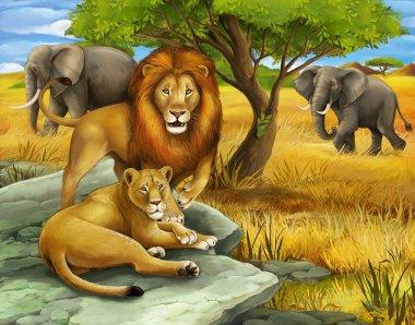 Safari - lions and elephants - illustration for the children
