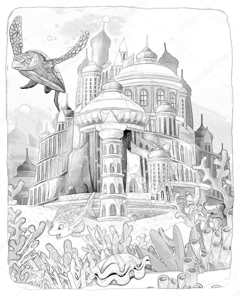 Underwater World And Castle The Little Mermaid Artistic Style Illustration For The Children Stock Photo C Illustrator Hft 31995713