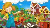 holčička na farmě - šťastný ilustrace pro děti
