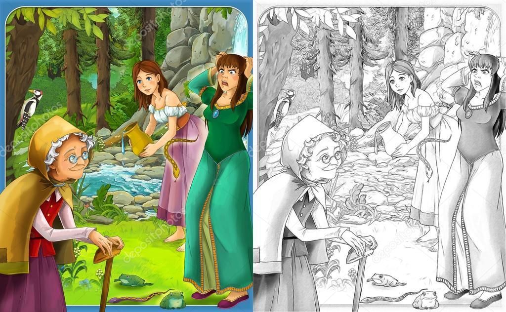эскиз страницы раскраски с превью художественный стиль