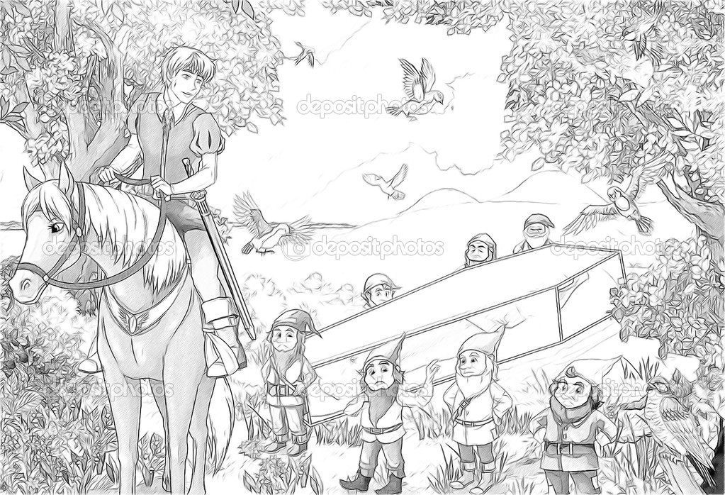 Prenses Ve Yedi Cüceler Kar Kroki Boyama Sayfası Stok