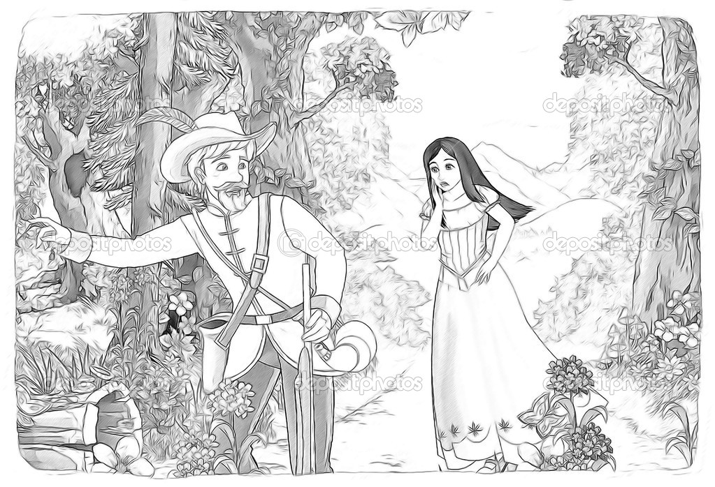 La Página Para Colorear De Bosquejo Blancanieves Y Los