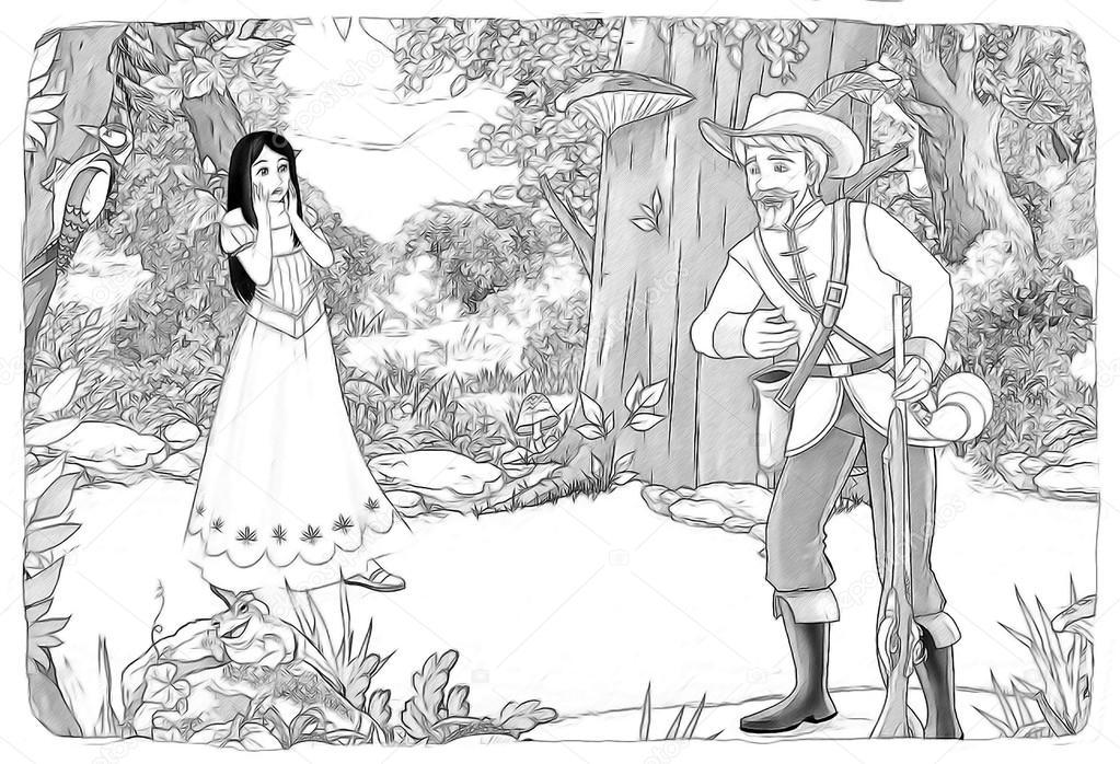 Prenses Ve Yedi Cüceler Kar Kroki Boyama Sayfası Stok Foto