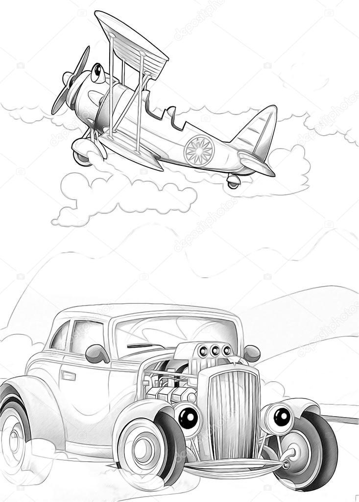 Makineleri Sanatsal Sayfa Boyama Stok Foto C Illustrator Hft