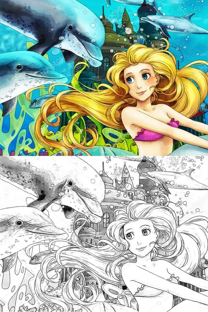 The ocean and the mermaids - coloring page