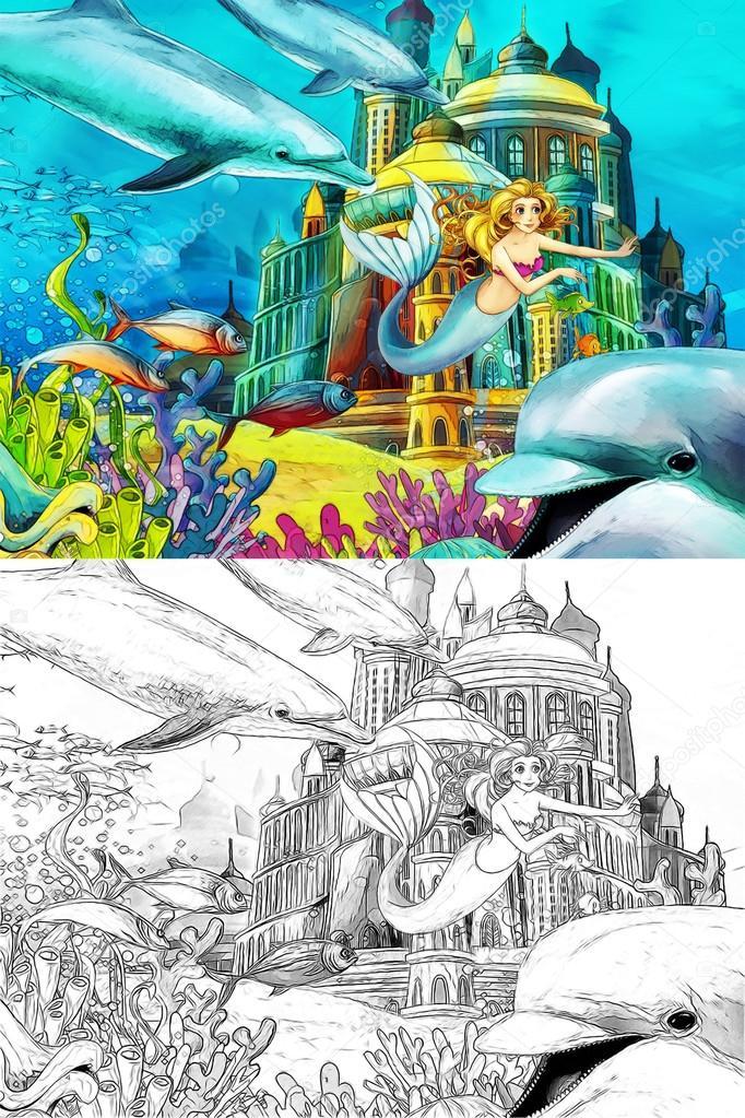 De Oceaan En De Zeemeerminnen Kleurplaten Pagina Stockfoto