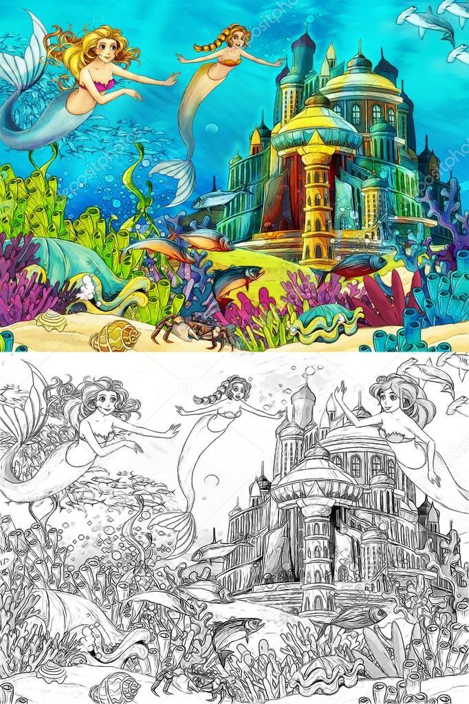 el océano y las sirenas - Página para colorear — Fotos de Stock ...