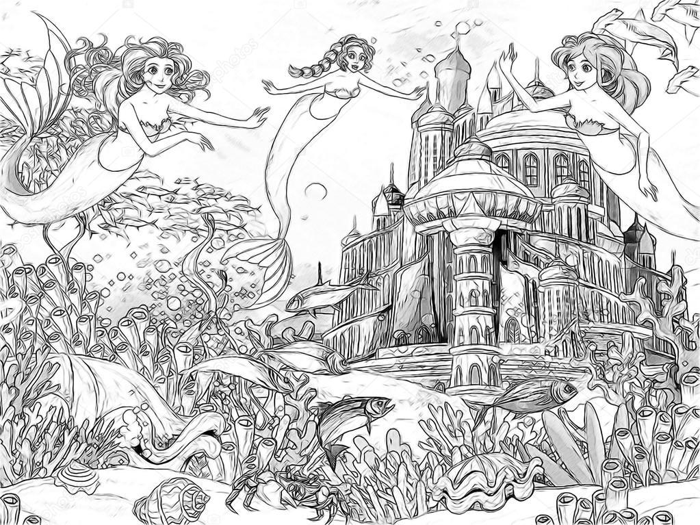 el océano y las sirenas - Página para colorear — Foto de stock ...
